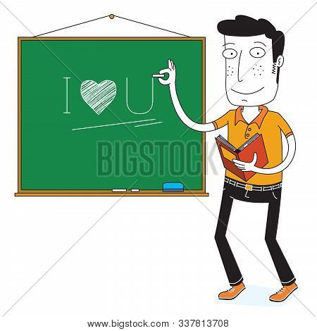 Illustration Of Teacher Writing On A Blackboard