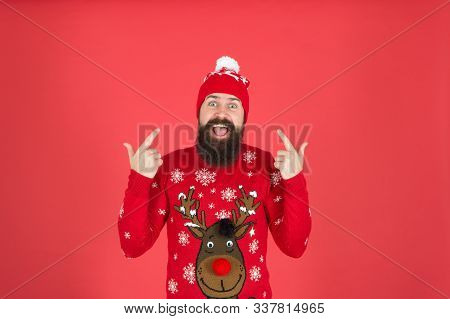 Hipster Cheerful Bearded Man Wear Winter Sweater And Hat. Happy New Year. Join Holiday Party Craze A