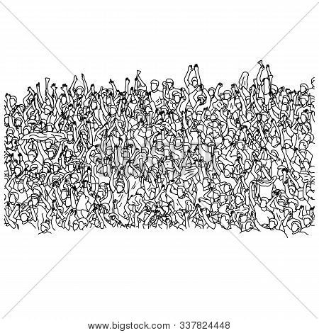 Crowd Of Audience Cheering On Stadium Vector Illustration Sketch Doodle Hand Drawn With Black Lines