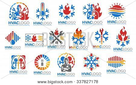 A Set Of Hvac Logo Design, Heating Ventilation And Air Conditioning, Hvac Logo Pack Template Collect