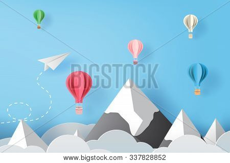 3d Paper Art And Craft Of White Paper Airplanes Flying And Balloons On Blue Sky And Clouds, Creative