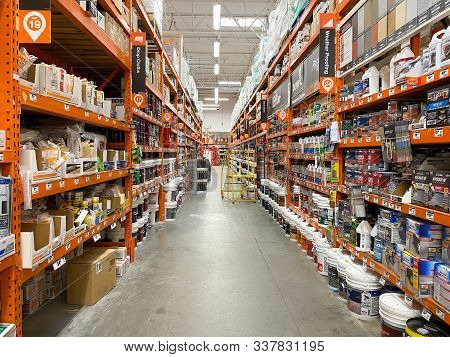 Aisle At The Home Depot Hardware Store. The Home Depot Is The Largest American Home Improvement Reta