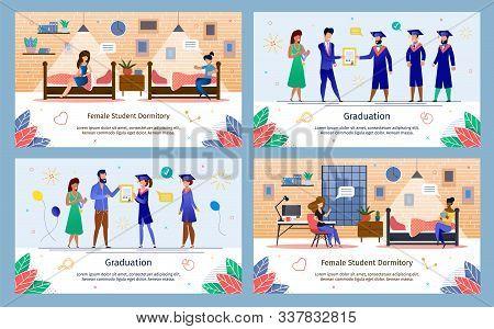 University Or College Students Graduation Celebration Ceremony, Female Dormitory Life Trendy Flat Ve
