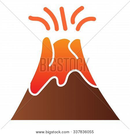 Volcano Flat Icon. Magma Erupting Color Icons In Trendy Flat Style. Nature Gradient Style Design, De