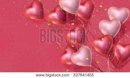 Happy Valentines Day Banner With 3d Red And Pink Heart-shaped Helium Balloons, Golden Confetti. Vect