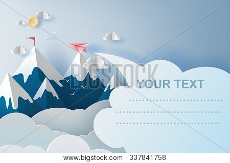 3d Illustration Art Of Airplanes Flying Above Mountains On Blue Sky.creative Design Paper Cut And Cr
