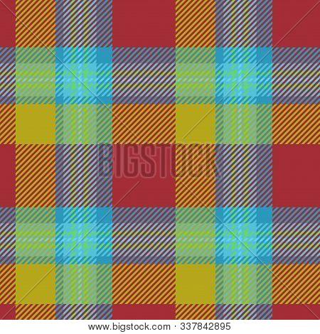 Modern Hipster Tartan Checked Fashion Trendy Pattern Design Ochre Blue Background