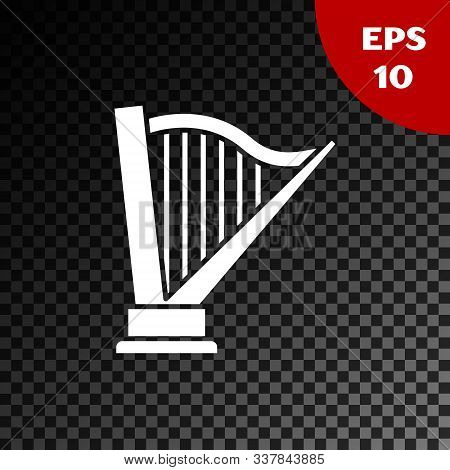 White Harp Icon Isolated On Transparent Dark Background. Classical Music Instrument, Orhestra String