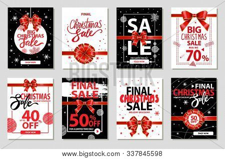 Set Of Promotional Posters On Christmas Sale. Reduction In Price, 40 And 50 Reductions Of Cost. Bann
