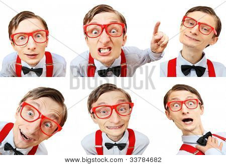 Funny guy with many different facial expressions