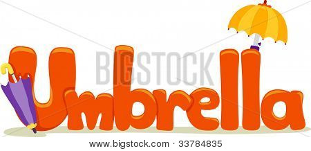 Text Illustration Featuring the Word Umbrella