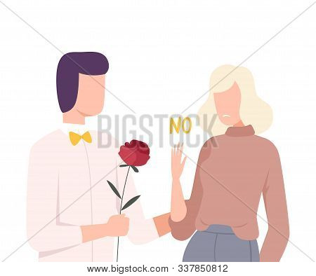 Young Woman Rejecting Feelings of Loving Man, Male and Female Characters Experiencing Unrequited Feelings, One Sided or Rejected Love Flat Vector Illustration poster