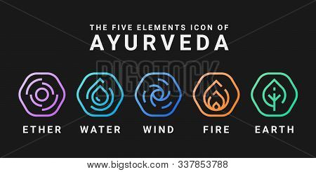 The Five Elements Icon Of Ayurveda With Ether Water Wind Fire And Earth Line Rounded Hexagon Icon Si