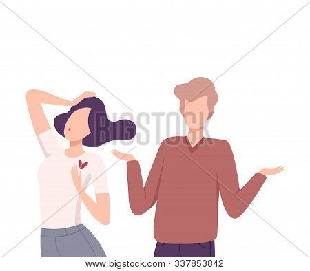 Young Man Rejecting Feelings of Loving Woman, Unrequited Love, One Sided or Rejected Love Flat Vector Illustration poster