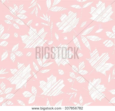 The Leaves Of The Trees, Seamless Background, Pink, Shading, Vector. White Leaves On A Pink Field. V