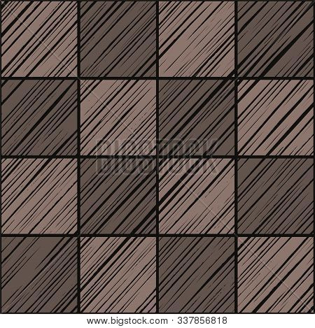 Square Tile, Background, Seamless, Graphite Gray, Warm, Vector.  The Shaded Squares On The Diagonal