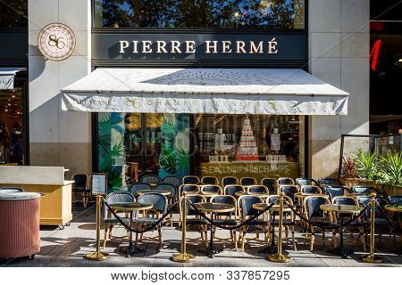 Paris/france - September 10, 2019 : The Pierre Herme Pastry Store On Champs-elysees Avenue