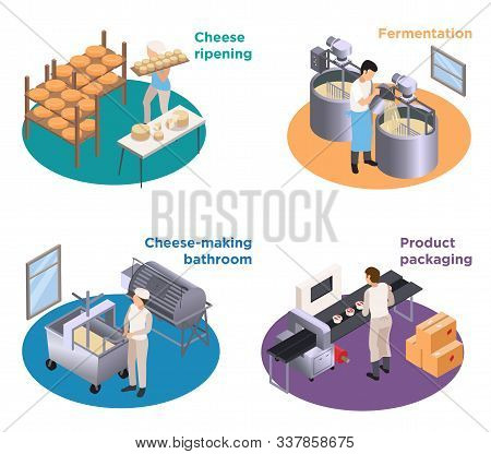 Dairy Production Concept 4 Round Isometric Compositions With Cheese Making Coagulation Fermentation