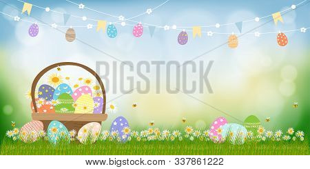 Vector Happy Easter Holiday Greeting Card With Nature Background, Easter Eggs In Basket And Cute Egg
