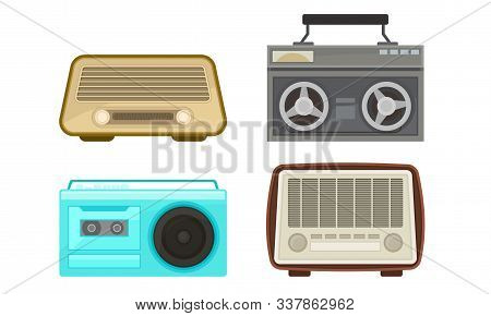 Old Analog Radio And Cassette Player Collection, Vintage Obsolete Digital Handheld Devices Vector Il