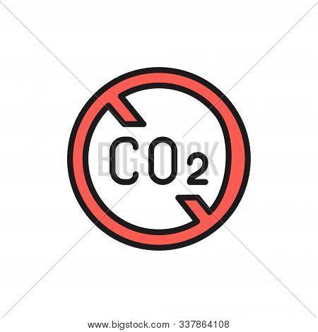 No Carbon Emissions, Co2 Emissions Sign Flat Color Line Icon.