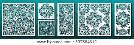 Laser Cut Pamels Template, Vector Set. Abstract Geometric Pattern. Stencils, Die For Metal Cutting,
