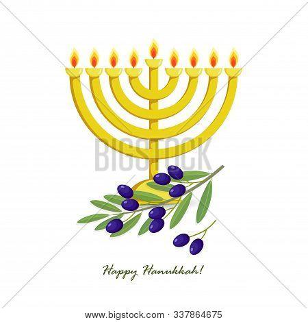 Jewish Holiday Of Hanukkah, Hanukkah Menorah, Traditional Nine-branched Candelabrum, Olive Branch Wi