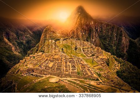 Panoramic view on Ancient city of Machu Picchu in Peru. South America.
