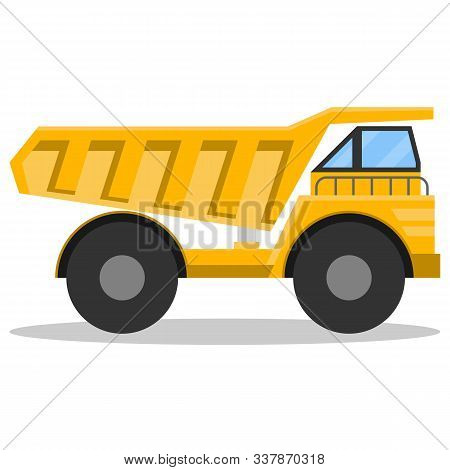 Dump Truck, Big Mining Truck Isolated On White Background With Shadow. Vector Illustration Of A Yell