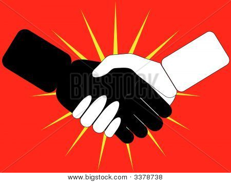 Black And White Handshake, Stylized On Red.