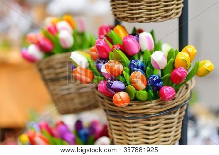 Wooden Tulips And Decorations Sold On Easter Market In Vilnius, Lithuania.