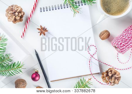 Christmas And New Year Background With Empty Notepad, Pen And Christmas Decorations. To Do List, Wis