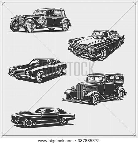 Vintage Cars Set. Retro Cars Garage. Classic Muscle Cars Labels, Emblems And Design Elements.