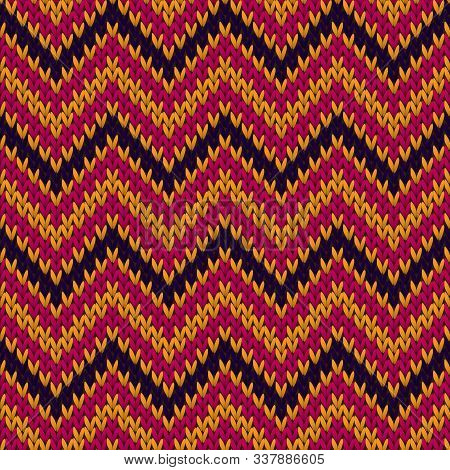 Material Chevron Stripes Christmas Knit Geometric Vector Seamless. Rug Knitwear Structure Imitation.