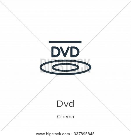 Dvd Logo Icon. Thin Linear Dvd Logo Outline Icon Isolated On White Background From Cinema Collection