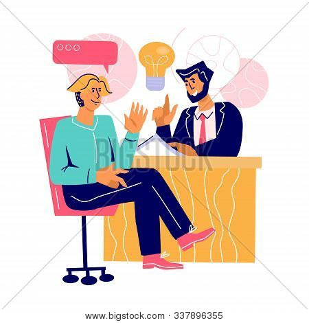 Business Meeting Negotiations Concept With People Cartoon Characters Sit At Table And Talking. Discu
