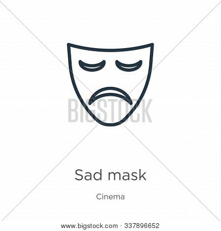 Sad Mask Icon. Thin Linear Sad Mask Outline Icon Isolated On White Background From Cinema Collection
