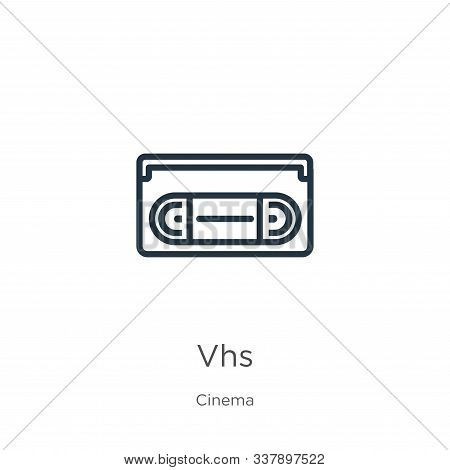 Vhs Icon. Thin Linear Vhs Outline Icon Isolated On White Background From Cinema Collection. Line Vec