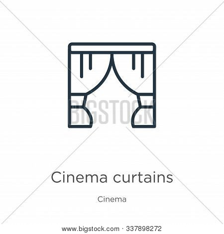 Cinema Curtains Icon. Thin Linear Cinema Curtains Outline Icon Isolated On White Background From Cin