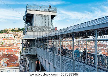 Lisbon, Portugal - October 23, 2019: Santa Justa Lift - Elevador Di Santa Justa At The Historical Ce