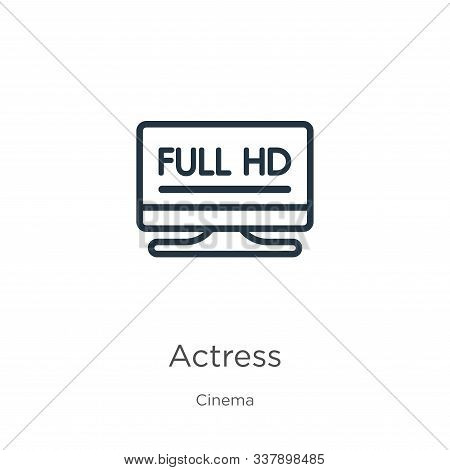 Actress Icon. Thin Linear Actress Outline Icon Isolated On White Background From Cinema Collection.