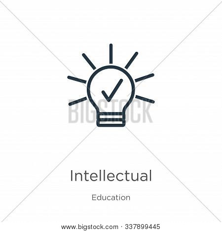 Intellectual Icon. Thin Linear Intellectual Outline Icon Isolated On White Background From Education
