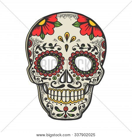 Mexican Mask Day Of Dead Vintage Sketch Engraving Vector Illustration. T-shirt Apparel Print Design.