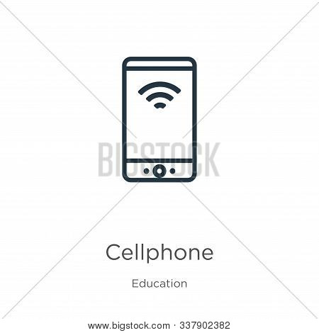 Cellphone Icon. Thin Linear Cellphone Outline Icon Isolated On White Background From Education Colle