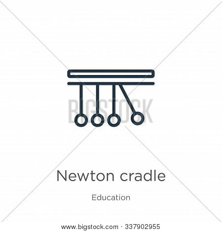 Newton Cradle Icon. Thin Linear Newton Cradle Outline Icon Isolated On White Background From Educati