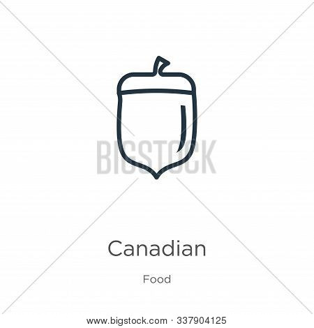 Canadian Icon. Thin Linear Canadian Outline Icon Isolated On White Background From Food Collection.