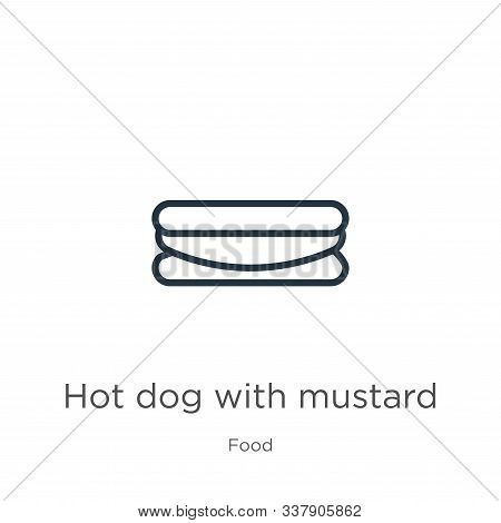 Hot Dog With Mustard Icon. Thin Linear Hot Dog With Mustard Outline Icon Isolated On White Backgroun