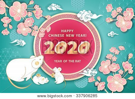 White Metal Rat Is A Symbol Of 2020 Chinese New Year. Horizontal Banner With Cute Mice, Coins, Flowe