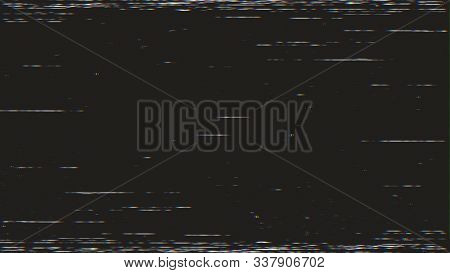 Horizontal Distortion Of Broken Video Image On Black Background, Vhs Effect, Glitch Digital Color Pi