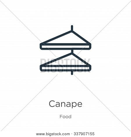 Canape Icon. Thin Linear Canape Outline Icon Isolated On White Background From Food Collection. Line